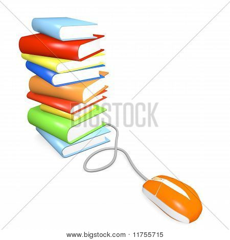 Stack of books with mouse