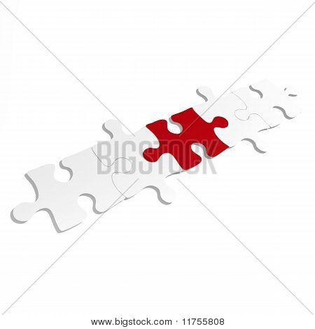 Five puzzle pieces