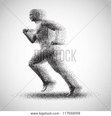 Running man consisting of lots of dots