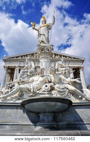 Goddess Pallas Athena Statue in front of Parliament in Vienna,