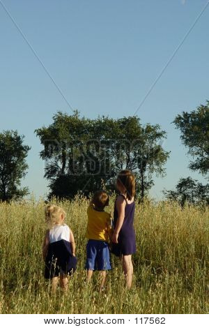 Three Children In Field