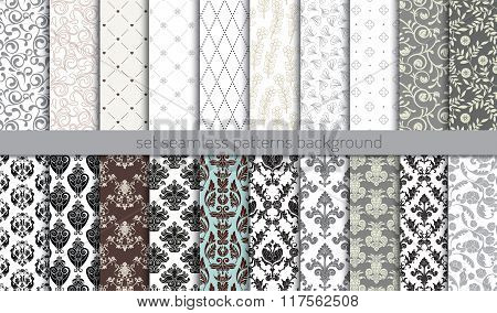 Vector damask seamless pattern background, pattern swatches included