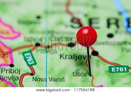Usce pinned on a map of Serbia