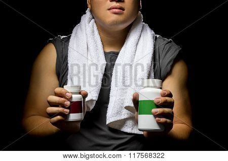 Athlete Using Fat Burner or Dietary Supplements