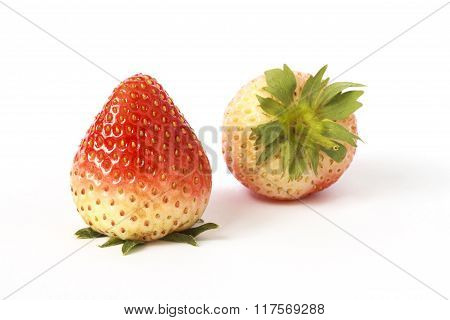 Two ripe strawberries red color isolated on white background