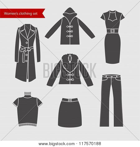 Set of vector icons of women's clothing for your design.