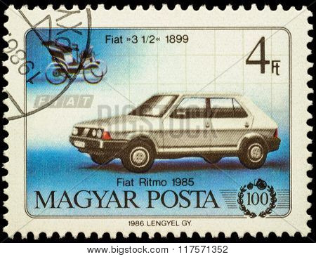 Cars Fiat 3 1/2 (1899) And Fiat Ritmo (1985) On Postage Stamp