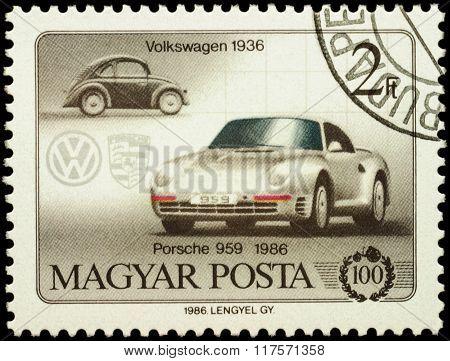 Cars Volkswagen (1936) And Porsche 959 (1986) On Postage Stamp