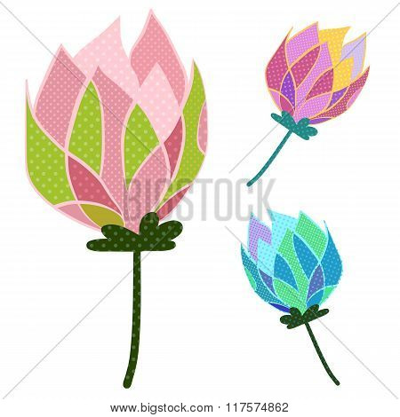 Colorful lotus with Dot pattern