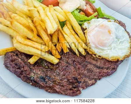 Beef steak with egg and chips
