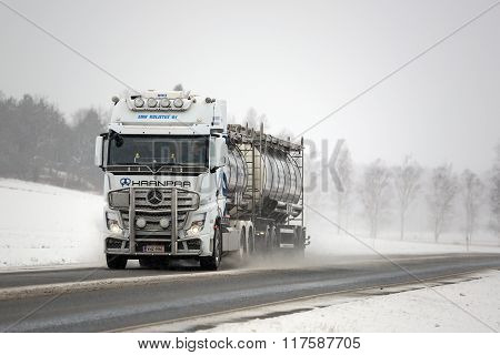 White Mercedes-Benz Actros Truck And Road Salt