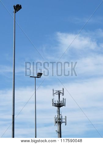 Telecommunications Cell Phone Tower And Light Poles