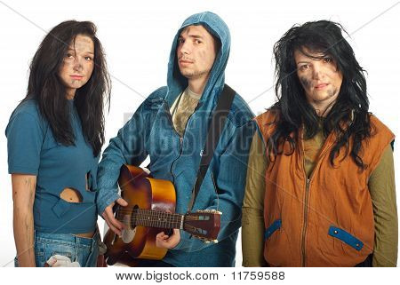 Group Of Beggars With Guitar