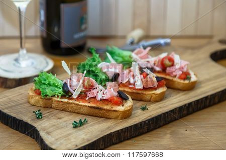 Tapas With Crusty Bread - Selection Of Spanish Tapas Served On Baguette.