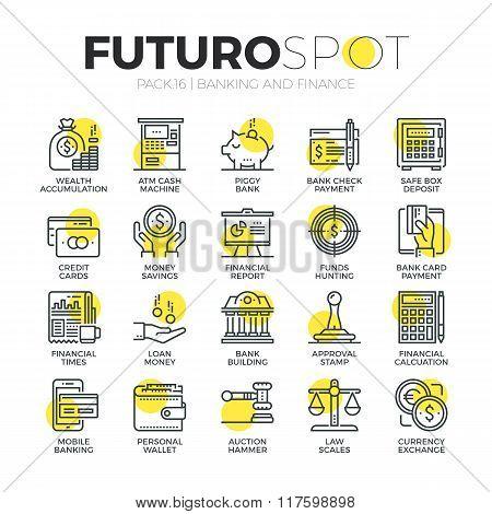 Banking Services Futuro Spot Icons