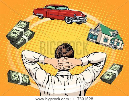 Business dreams buyer home car income money pop art retro style. Finance and budget. Lending poster