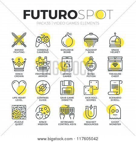 Video Gaming Futuro Spot Icons
