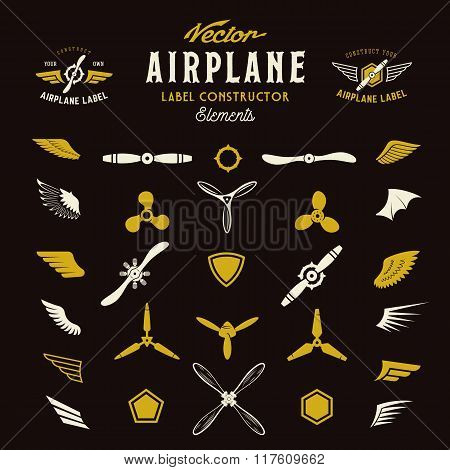 Abstract Vector Airplane Labels or Logos Construction Elements. On Dark Background