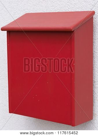 Red Letter Box Made Of Wood