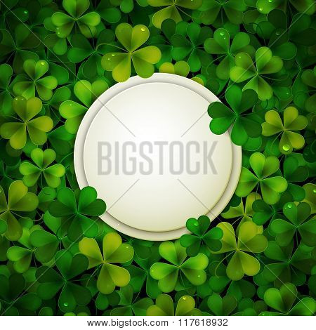 Saint Patrick's Day Vector Illustration, Round Banner On Shamrock Leaves Background