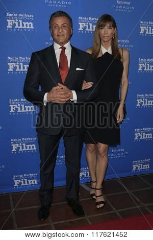 SANTA BARBARA - FEB 9:  Sylvester Stallone, Jennifer Flavin at the 31st Santa Barbara International Film Festival Montecito Award at the Arlington Theatre on February 9, 2016 in Santa Barbara, CA