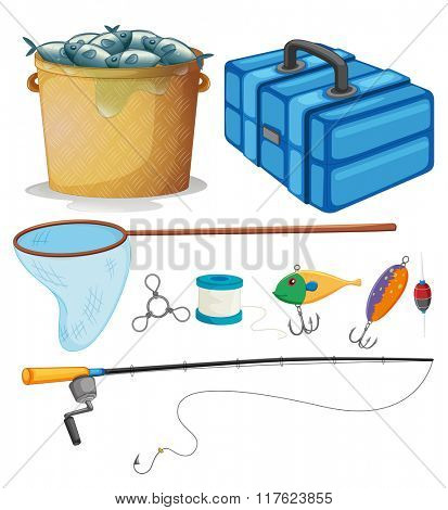 Fishing set with fishing pole and tools illustration