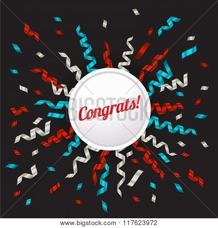 Blue, Silver And Red Ribbon And Congrats Circle Banner , Vector Illustration