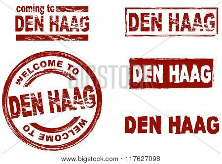 Set of stylized ink stamps showing the city of Den Haag