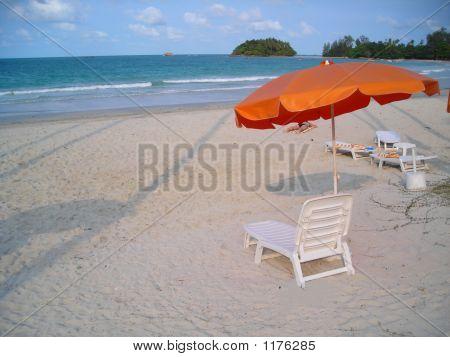 Deck Chairs At Beach