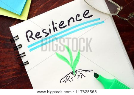 Resilience written on notepad.