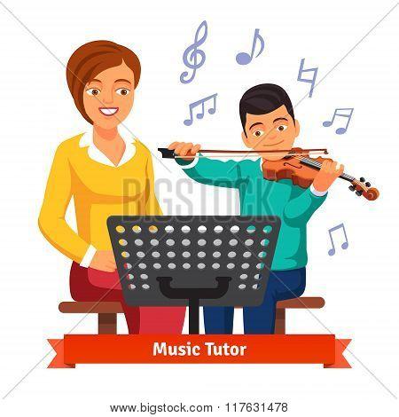 Musical tutor woman with kid boy violin student