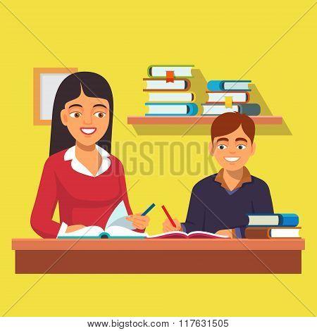 Woman teacher tutor tutoring boy kid at home