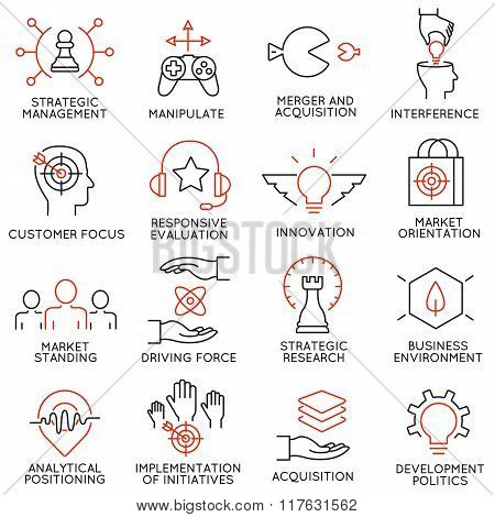 Set of icons related to business management - part 40