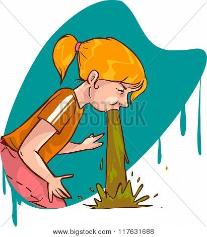 White Background Vector Illustration Of A Vomit Girl