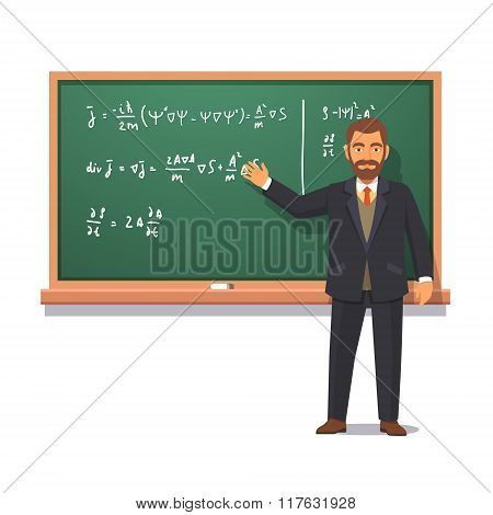 University professor giving a lecture on physics