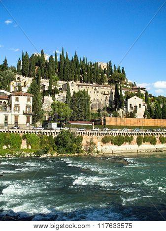Adige river front in Verona