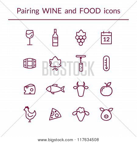 Wine and food pairing line icons