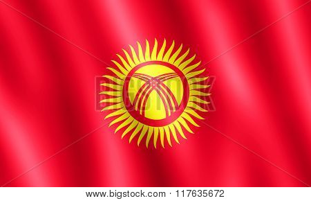 Flag Of Kyrgyzstan Waving In The Wind