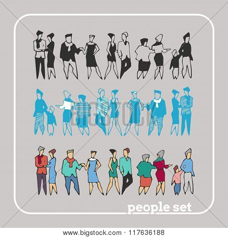 Flat Style Modern People With Bags In Casual Clothes. Stick Figure. Vector Set.