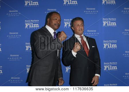 SANTA BARBARA - FEB 9:  Carl Weathers, Sylvester Stallone at the 31st Santa Barbara International Film Festival Montecito Award at the Arlington Theatre on February 9, 2016 in Santa Barbara, CA
