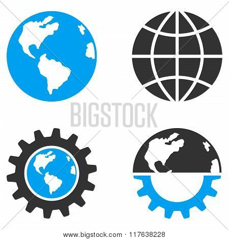Global Industry Flat Bicolor Vector Icons