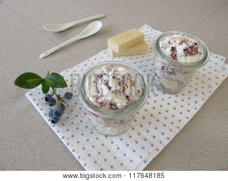 Fruit fool with blueberries