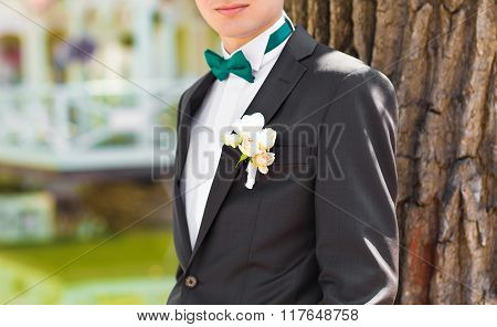 suit of groom with bow tie and boutonniere