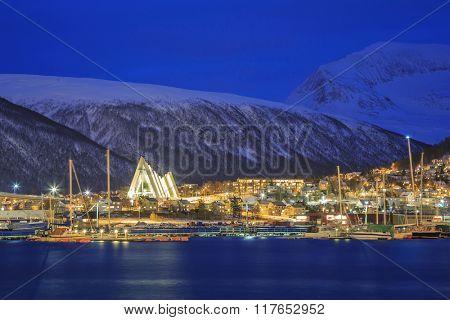 Landscape of Tromso Cityscape at dusk Troms, Norway