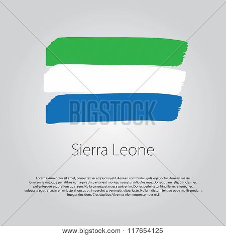Sierra Leone Flag With Colored Hand Drawn Lines In Vector Format