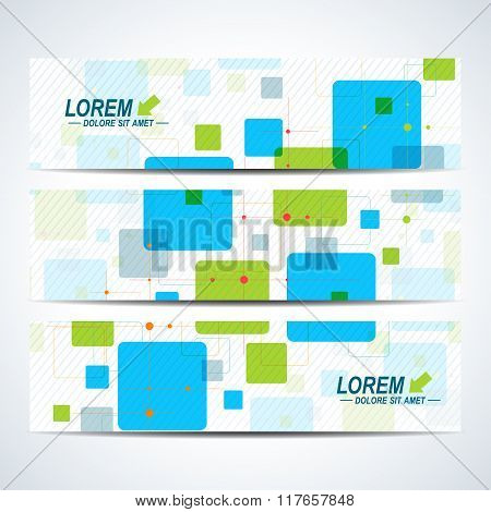 Set of vector horizontal banners. Background with colorful scuares . Modern design