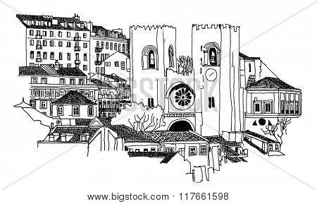 Se Cathedral in Lisbon - Vector illustration