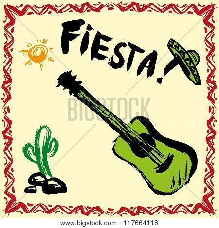 Mexican Fiesta Party Invitation with maracas, sombrero and guita