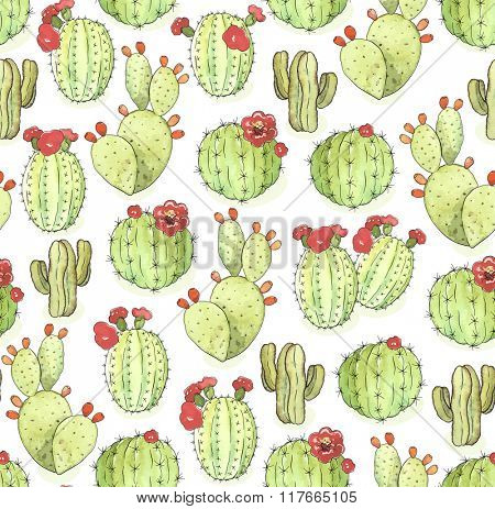 Seamless pattern of blooming green cactus on white background, illustration in vintage style.