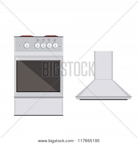 Kitchen Stove And Extractor Hood